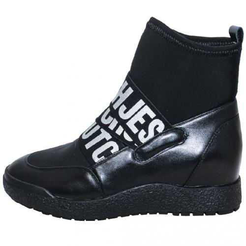 個性小牛皮拼接萊卡字母厚底中筒靴