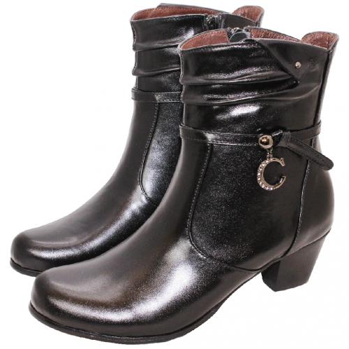 時尚抓皺C字水鑽小羊皮中筒靴