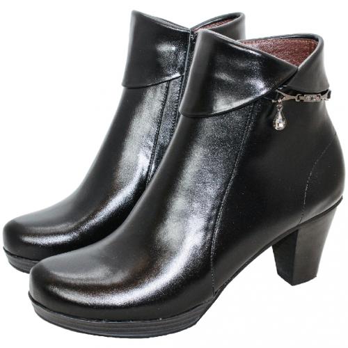 優雅小羊皮水台高跟短靴