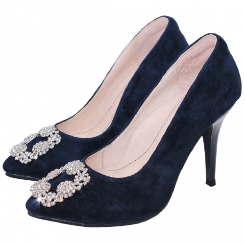 精品風華麗鑽石方釦尖頭4吋跟鞋
