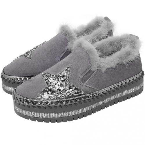 星星水鑽羊麂皮厚底休閒鞋