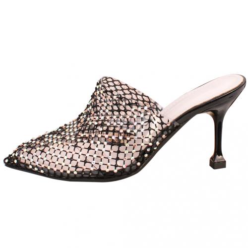 小香風鏤空網紗細跟水鑽穆勒鞋