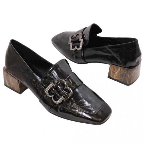 復古精品風羊漆皮方頭粗跟鞋