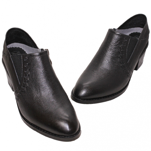 顯瘦小牛皮V口粗跟懶人踝靴