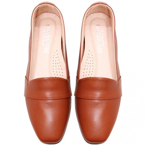 百搭基本款小牛皮方頭樂福鞋