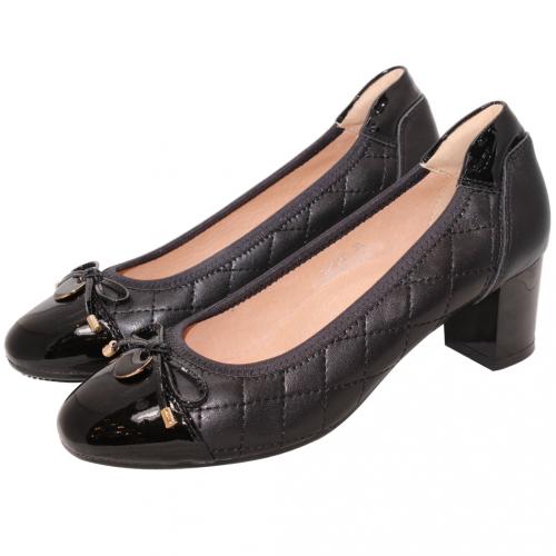 經典小香風格紋小羊皮中跟鞋