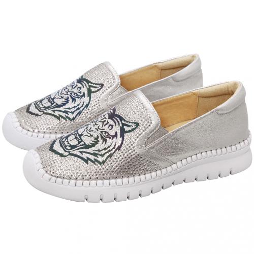 水鑽老虎金箔小羊皮氣墊休閒鞋