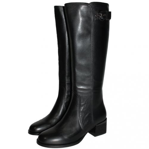 歐美風頂級小牛皮粗跟長靴