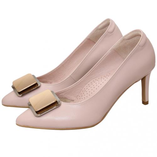 優雅金屬方釦小羊皮三吋跟鞋
