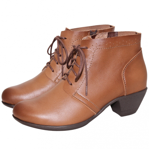 氣質綁帶小牛皮粗跟短靴