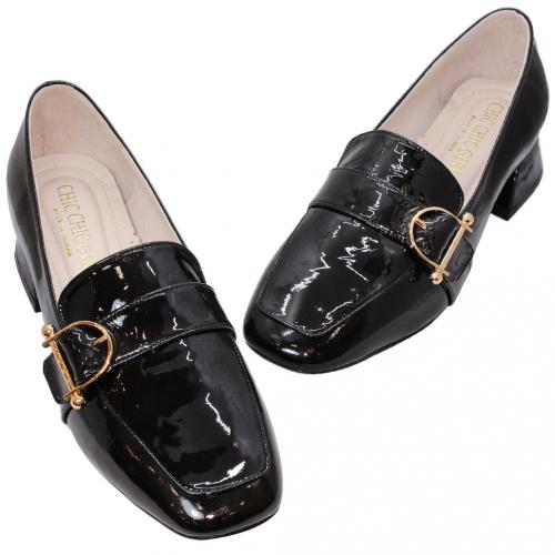 復古風羊漆皮方頭粗跟鞋