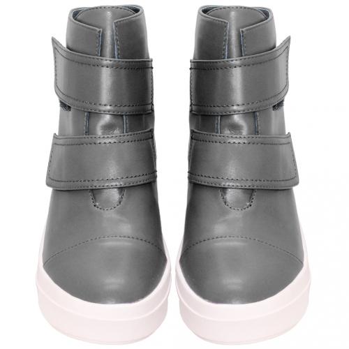 Y3風小牛皮平底內增高短靴