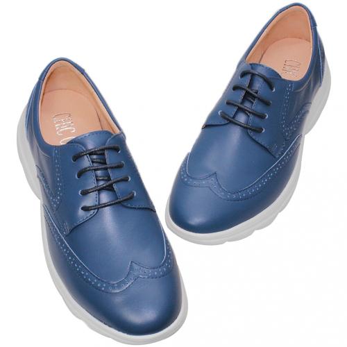 牛津風輕量化綁帶小羊皮休閒鞋