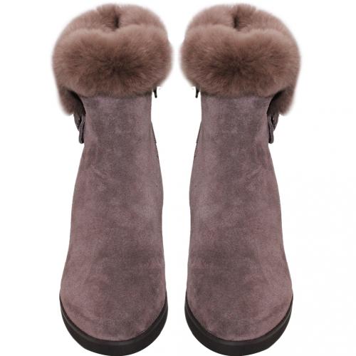 毛絨羊麂皮心機內增高雪靴