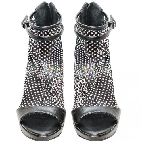 性感小羊皮鏤空網狀水鑽跟鞋