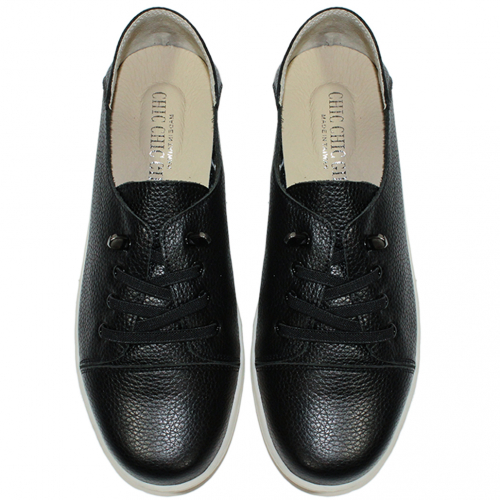 時尚基本款免綁帶小牛皮休閒鞋