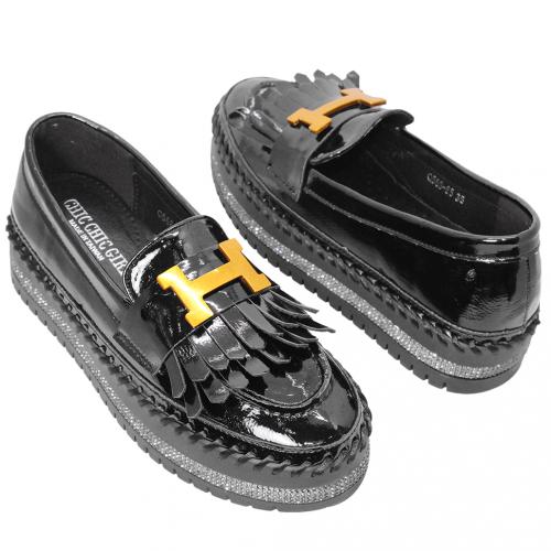 流蘇羊漆皮厚底增高牛津鞋