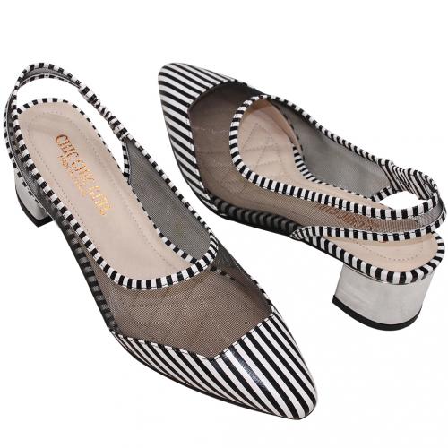 時尚黑白條紋小羊皮低跟穆勒鞋
