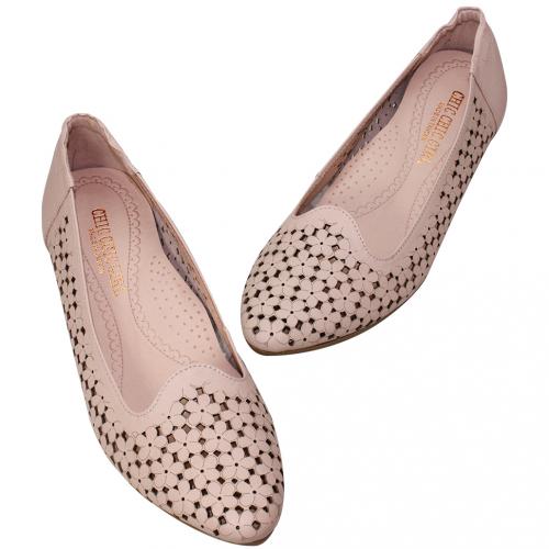優雅鏤空碎花小牛皮氣墊娃娃鞋