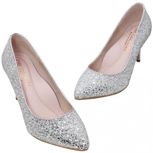 亮眼銀蔥3D氣墊高跟鞋
