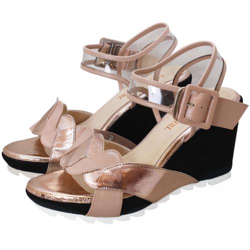 夏日風小羊皮鏤空繞踝楔型涼鞋