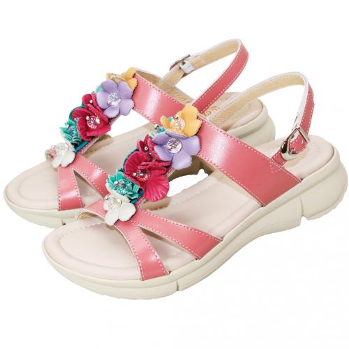 熱帶風輕量厚底小牛皮涼鞋