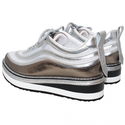 優雅鏤空小牛皮網紗增高鞋