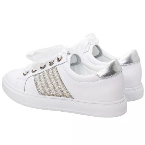 浪漫小牛皮珍珠水鑽緞帶休閒鞋