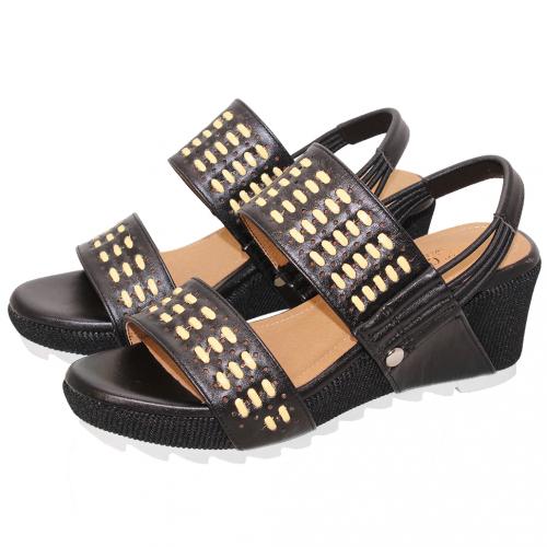 熱夏草編小牛皮雷雕楔型鞋