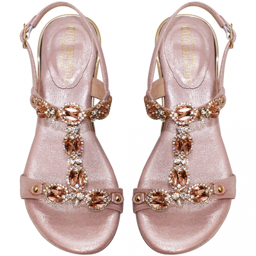 浪漫華麗小羊皮水鑽頂級絲光布夾腳小坡跟涼鞋