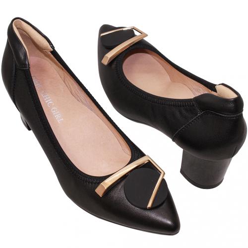 優雅OL小羊皮氣墊中跟鞋