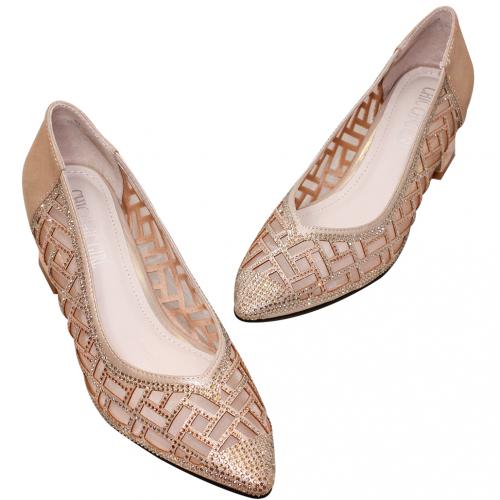 典雅亮鑽雷雕小羊皮晚宴鞋