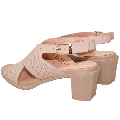 優雅小羊皮沖孔平口粗跟涼鞋