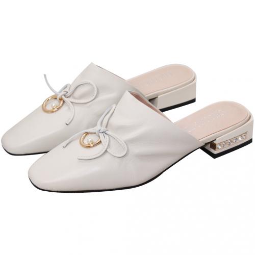 Nappa小羊皮蝴蝶結低跟穆勒鞋