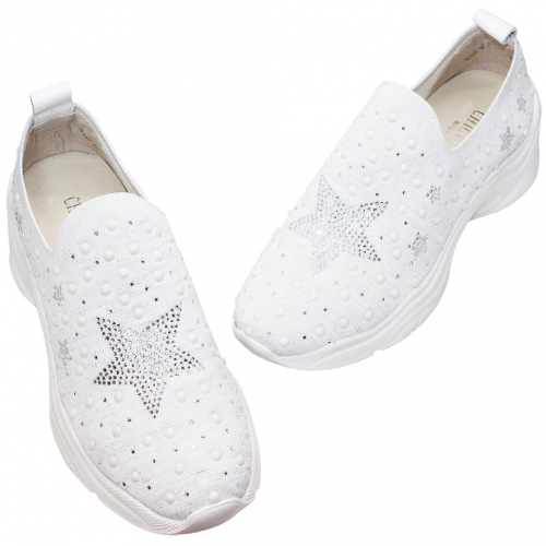 輕量星星水鑽飛休閒鞋