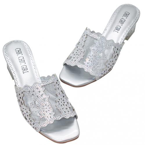 閃亮雷雕小羊皮水晶跟涼鞋