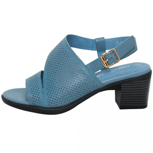 優雅小羊皮沖孔粗跟平口涼鞋