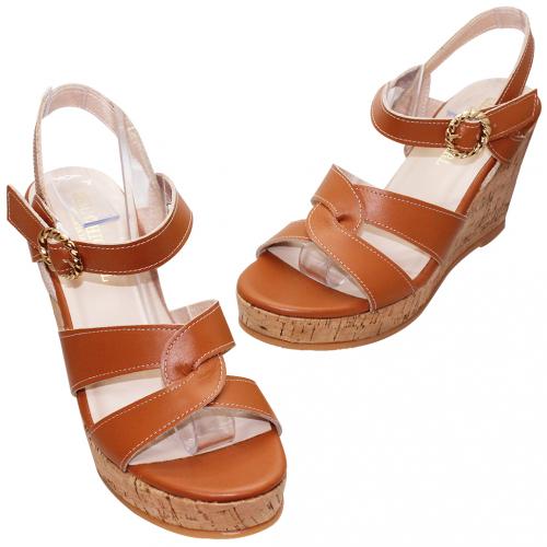 渡假風小羊皮木紋楔型涼鞋