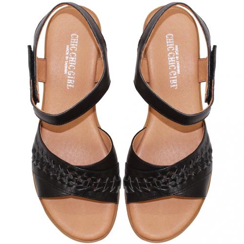 休閒風小牛皮編織楔型涼鞋