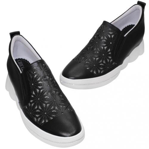 休閒風雷雕小牛皮內增高鞋