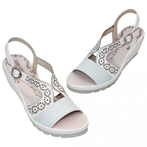 休閒輕量小羊皮楔型涼鞋