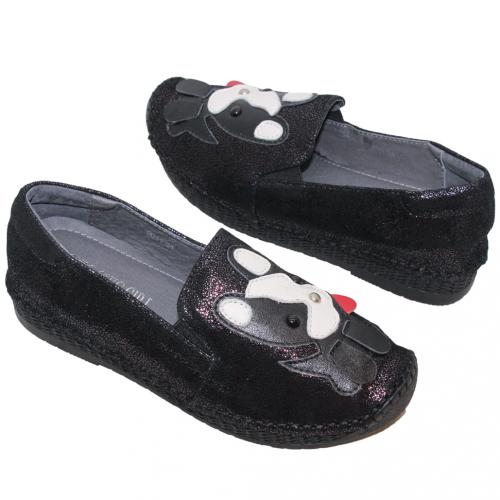 可愛狗狗小羊皮氣墊休閒鞋