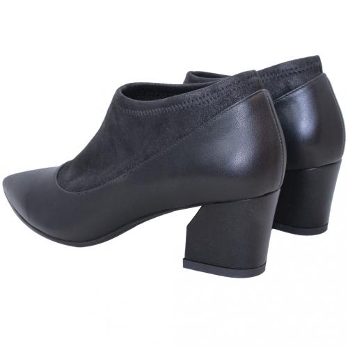 時尚拼接小羊皮中跟踝靴