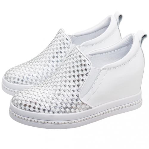BV風小牛皮層次編織增高鞋