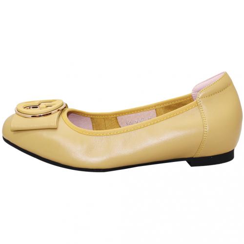 時尚圓釦軟Q小羊皮娃娃鞋