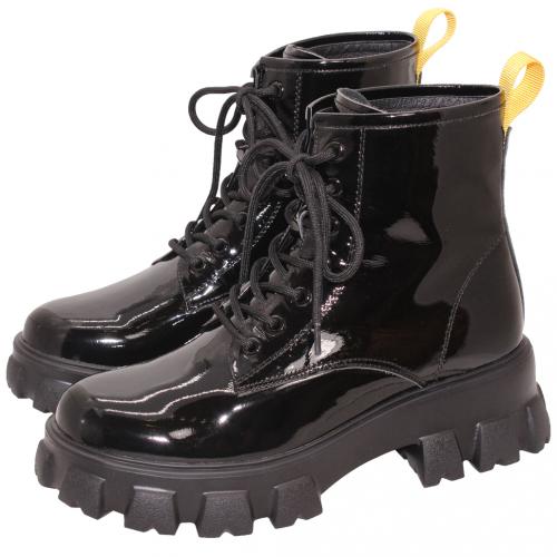 時尚百搭小牛皮輕量厚底軍靴(漆皮)