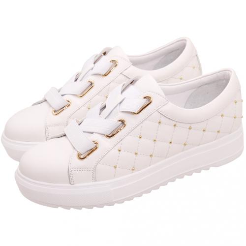 小香風格紋鉚釘小牛皮厚底鞋