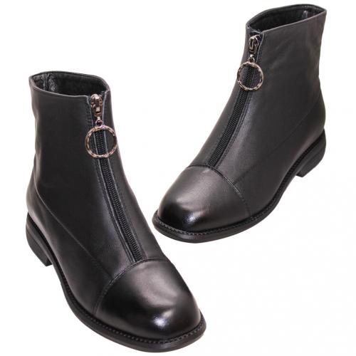 歐美風小牛皮前拉式低跟短靴