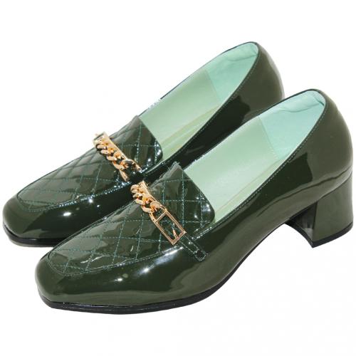 小香風格紋羊漆皮方頭跟鞋