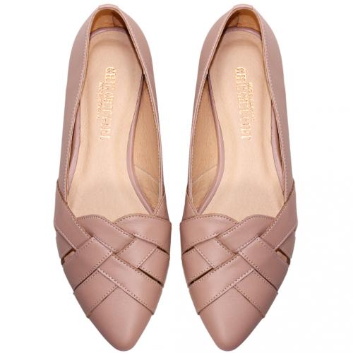 優雅小牛皮編織尖楦娃娃鞋